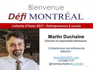 Martin Duchaine - coordonnées pour admission